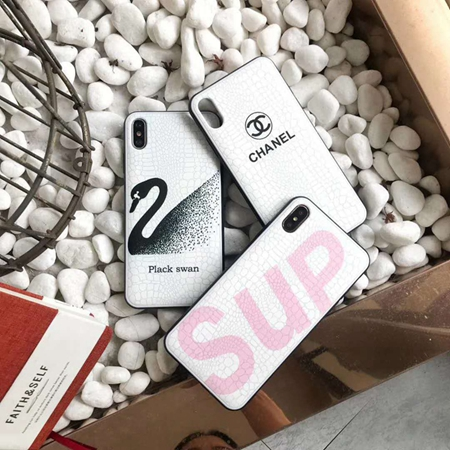 iphoneX ケース Chanel 皮柄  Supreme iPhoneXS MAX カバー Plack Swan